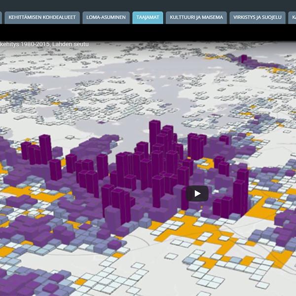 Kuva karttasovelluksesta. Kuvassa taajaman hajautumista kuvaava 3D malli.