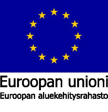 Euroopan aluekehitysrahaston logo. Kuvassa Eu-lippu ja teksti Euroopan unioni, Euroopan aluekehitysrahasto.