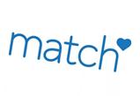 Kuvassa  sinisellä teksti: Match ja pieni sydän