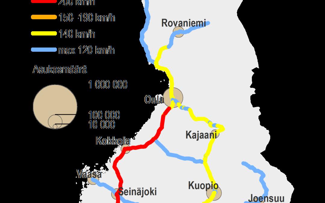 Suomen kartalla rautatieyhteydet ja niiden maksiminopeudet. Nopein yhteys on Halsinki-Lahti-väli 220 km/h, Lahti-Lappaanranta, Kimmi-Otava, Helsinki-Oulu ja Helsinki-Turku välit ovat max 200 km/h, muuta yhteydet matalampia nopeuksia.