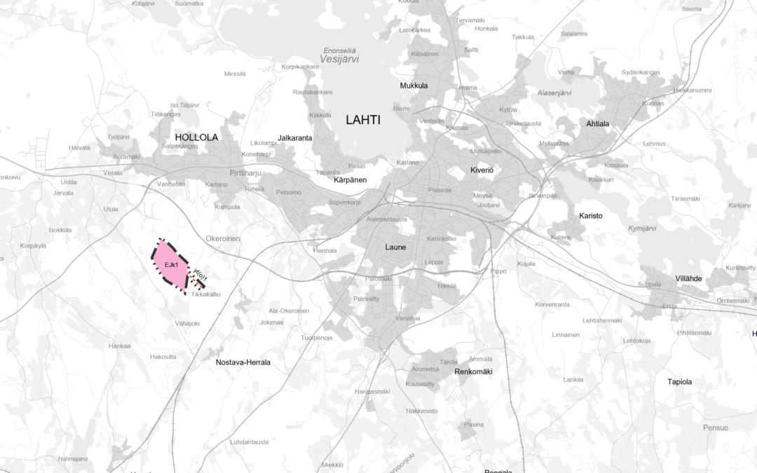 Kartta, johon on merkitty jätteenkäsittelyalue Hollolaan.