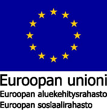 Sinisellä taustalla 12 keltaista tähteä ympyrän muodossa. Niiden alla teksti: Euroopan unioni, Euroopan aluekehitysrahasto, Euroopan sosiaalirahasto