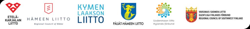 Kuvassa Etelä-Suomen maakuntien liittojen tunnukset tai vaakunat.