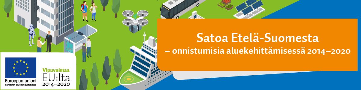 Piirroskuva. Kaupunkimainen ympäristö meren rannassa. Matkustaja-alus rannassa kaupungissa ihmisiä, robotti, linja-auto, drone, aurinkopaneleita. Alareunassa EU-lippu ja teksti Vipuvoimaa EU:lta 2014-2020. Oikeassa reunassa oranssilla pohjalla valkoinen teksti: Satoa Etelä-Suomesta - onnistumisia aluekehittämisessä 2014-2020.